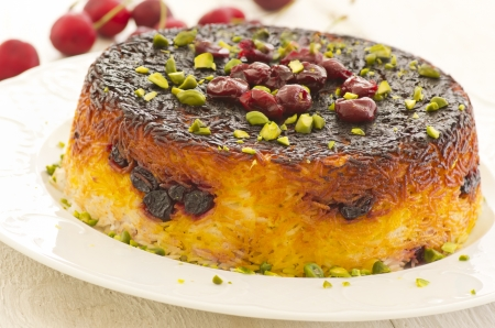 alboloo polo persian saffron rice with sour cherries photo