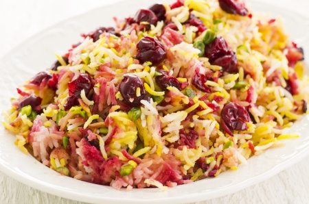 basmati: Persian saffron rice with cherries Stock Photo