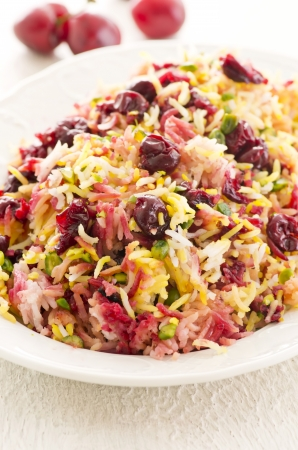 sour cherry: saffron rice with sour cherries