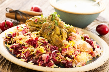 saffron: persian albaloo polo with sour cherries and chicken