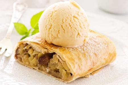 yellow apple: Apple strudel with vanilla ice cream