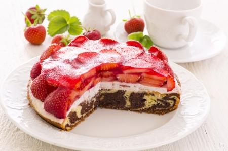 gelatina: tarta de fresa Foto de archivo