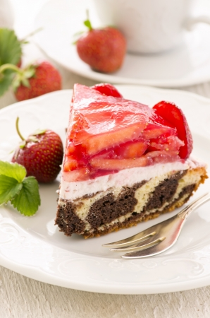 torte: torte with strawberry and quark Stock Photo