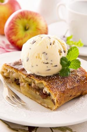 strudel: apple strudel with ice cream