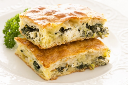börek with feta and spinach photo