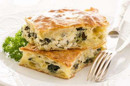 minced pie: Börek with feta and spinach Stock Photo