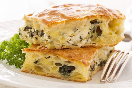 filo pastry: Burek with feta and spinach