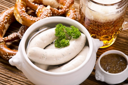 bavarian breakfast with weisswurst photo