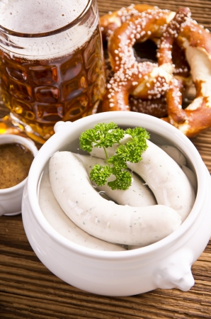 bavarian white sausage with beer photo