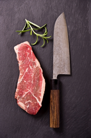 steak plate: beef steak with santoku knife