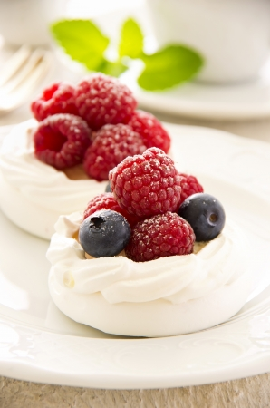 Meringues with fresh berries Stock Photo - 16268958