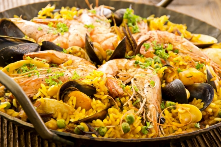valencia orange: seafood paella closeup Stock Photo