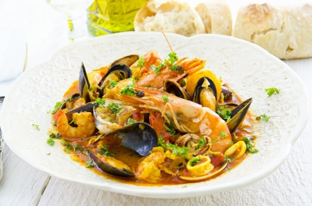 seafood soup: Bouillabaisse with fish and seafood Stock Photo