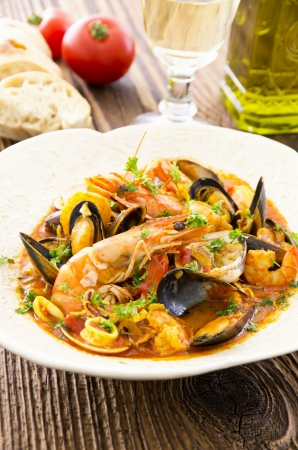 french cuisine: seafood soup  Stock Photo