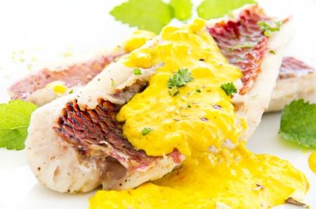 goatfish: Goatfish fillet with saffron cream sauce