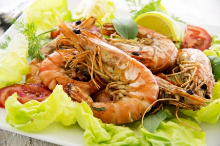 gambas: salad with fried gambas Stock Photo
