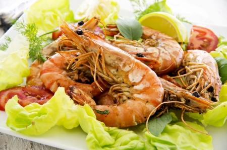 gambas: salad with fried gambas Stock Photo