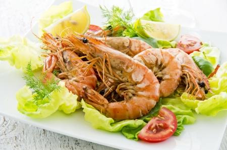gambas: fried black tiger prawns  Stock Photo