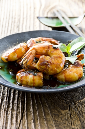 gambas: prawns teriyaki Stock Photo