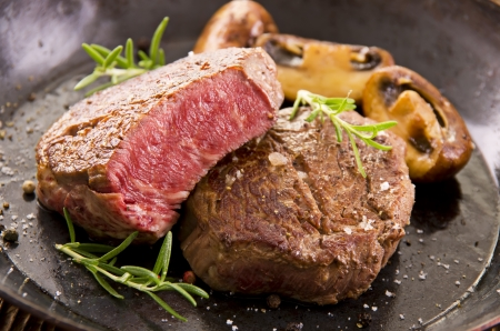 prime rib: beef steaks with herbs Stock Photo