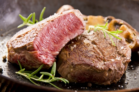 beef cuts: beef steak in the pan Stock Photo