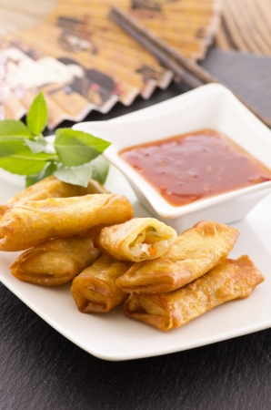 spring rolls with sauce Stock Photo - 17176418