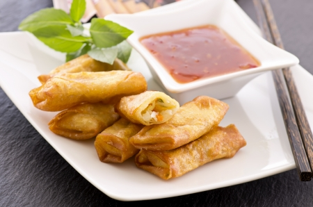 spring rolls with sauce Stock Photo - 17176414