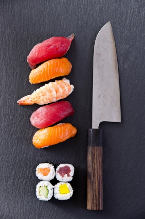 sushi with santoku knife photo