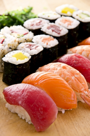 sushi menu: sushi with rolls on the plate