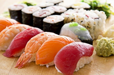 sushi with rolls photo