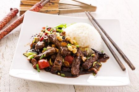 stir fry: mongolian beef with rice Stock Photo