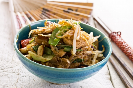 beef curry: stir fried noodles with vegetables Stock Photo
