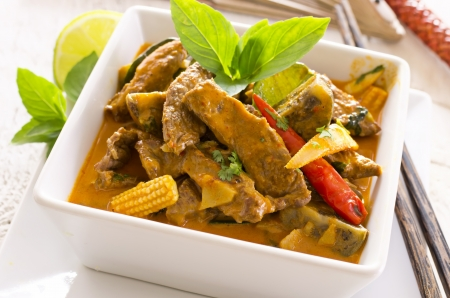 beef curry: thai red curry with beef