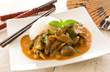 thai red curry with beef and vegetables photo