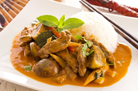 jasmine rice: red thai curry with beef and vegetables