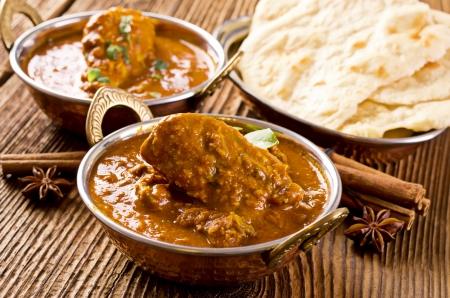 tandoori chicken: chicken madras with naad bread  Stock Photo