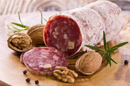 air dried salami: walnut salami