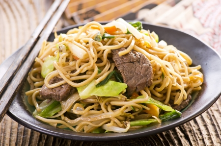 mee pok: fried noodles with beef