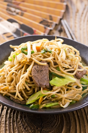 fried noodles with beef photo