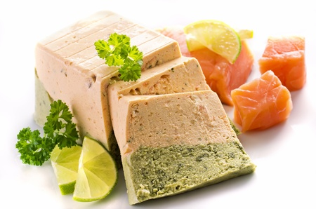 vegetarian cuisine: salmon and spinach terrine Stock Photo