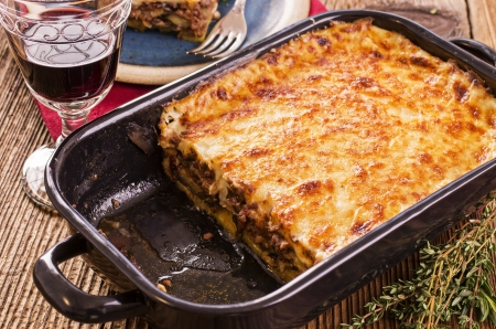 baked meat: moussaka in the baking form