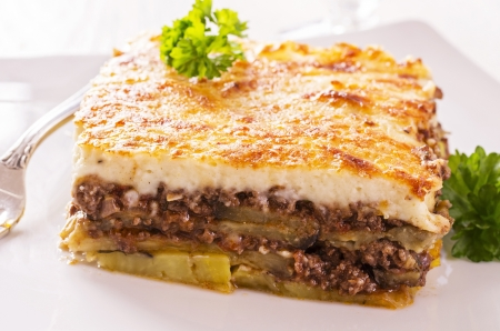 baked potato: moussaka with minced meat