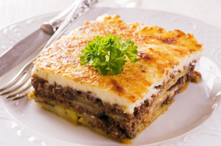 greek cuisine: moussaka with minced meat