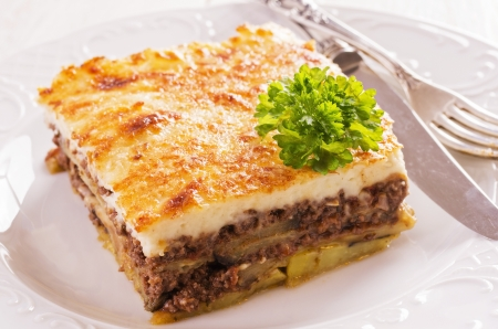 moussaka with minced meat photo