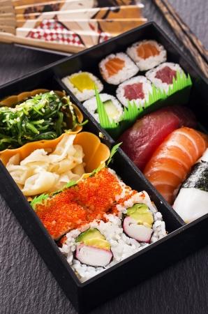 bento box: bento box with sushi Stock Photo
