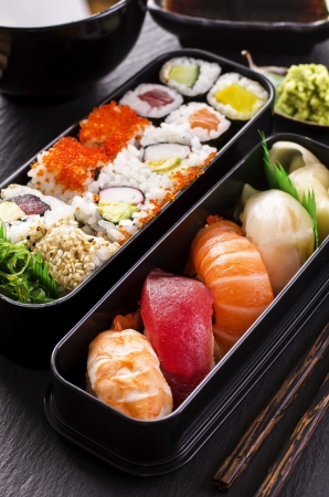 bento box: bento box with sushi and rolls
