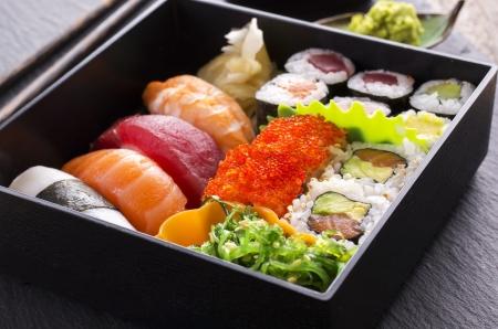 bento: bento box with sushi and rolls