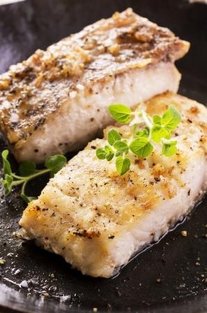 goatfish: fish fillet in the pan Stock Photo