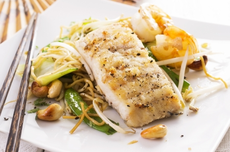 goatfish: stir-fried noodles with vegetable and fish