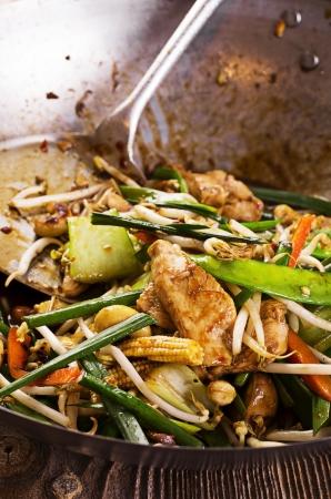 hoisin sauce: stir fried chicken with vegetables Stock Photo